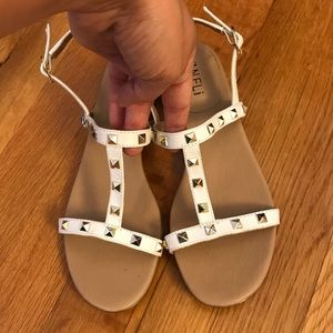 Vaneli white sandals with gold studs